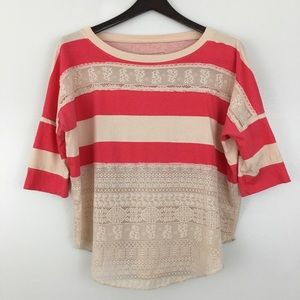 We the Free Burnt Orange Striped Lace Top